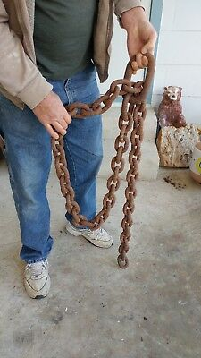 8+ ft Antique iron metal ship's boat anchor chain LG links 37pds nautical decor
