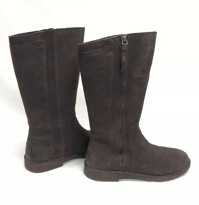 73630bedc17 UGG AUSTRALIA ELLY Stout Brown Tall Nubuck Boots 1017505 Wool Lined womens  sz 11