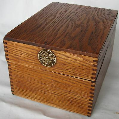 """VINTAGE FILE CARD BOX Finger Jointed Oak OFFICE KITCHEN w/brass tag 6"""" cards"""
