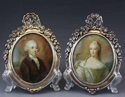 Pair 19C Miniature Portrait Paintings on Ivory w/ Silvered Metal Frames Signed