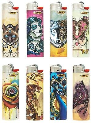 BIC Special Edition New Tattoos Series Lighters 2019 Designs, Set of 8 Lighters