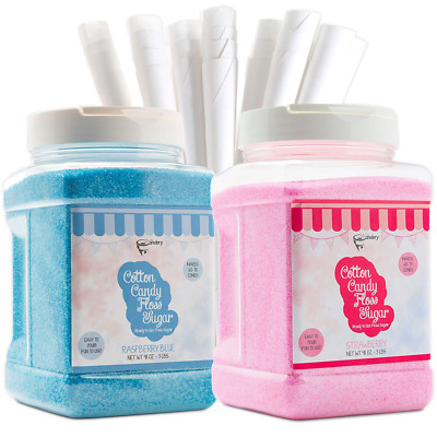 The Candery Cotton Candy Floss Sugar (2-Pack) Includes 100 Premium Cones | Raspb