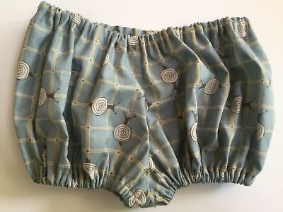 Nappy cover bloomers pants  blue snail fabric Handmade Approx 6-12 mths cotton