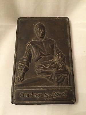 Very RARE (Greetings Gar Wood )Plate Plaque Advertising  Desk Weight  2.5 X 3.5""
