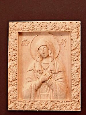 """Wood Carving 3D Icon Of The Mother Of God """"Repentance"""""""