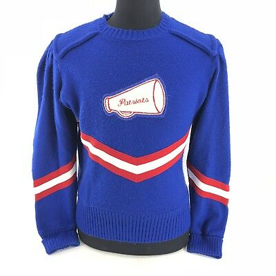 Vtg Patriots Cheerleading Cheerleader Knit Sweater Sz 40 Large Blue Red 70s 80s