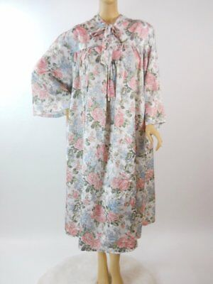 vintage plus size 3X Satin Nightgown Floral modest bust to 72 oversized #783