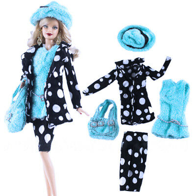 5PCS/Set Miniature Girl Doll Hat Coat Pants Set Clothes New For Kids DIY Dess Up