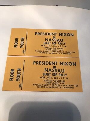 2 Floor Youth Tickets For President Nixon In Nassau Giant Gop Rally  10/23/1972