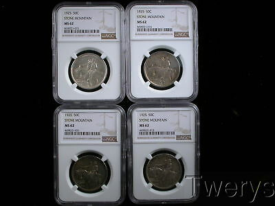 4 Piece Lot 1925 Stone Mountain Silver 50 Cents Commemorative Ngc Ms 62