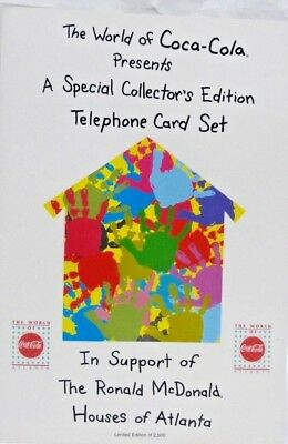 1995 World of Coke Special Ed Telephone Card Set Ronald McDonald House 1 of 2500