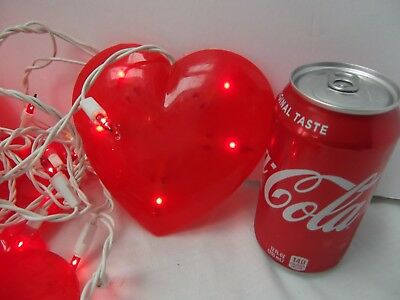 vtg 20 Valentine red large 5in vinyl heart string icicle mini light covers MINT