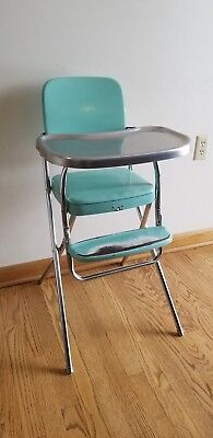 Vintage Antique TURQUOISE COSCO Baby Child's HIGH CHAIR Metal Vinyl Chrome 1950s