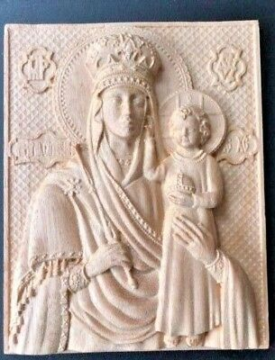 """Wood Carving 3D Icon Of The Mother Of God """"Look For Humility"""""""