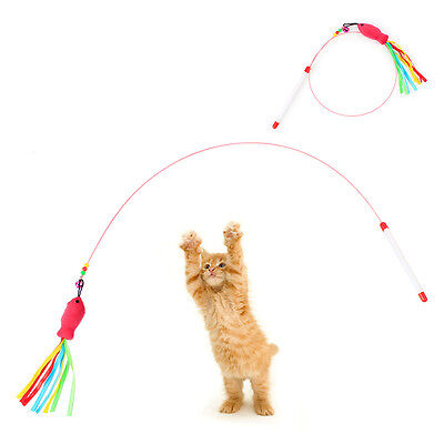 Funny Cat Kitten Pet Teaser Fish Ribbon Wire Chaser Pet Toy Wand Beads Play CN