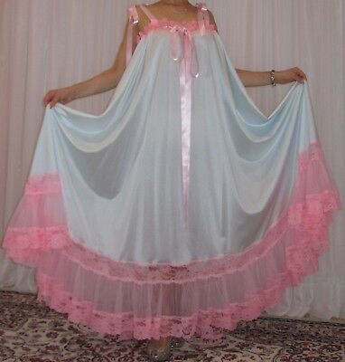 Vtg Nylon Lace Lingerie Nightgown Babydoll Slip Full Sweep Negligee M-6X