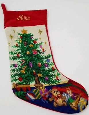 Vintage Needlepoint Christmas Stockings.Vintage Needlepoint Christmas Stocking Monogrammed Mike Personalized Christmas