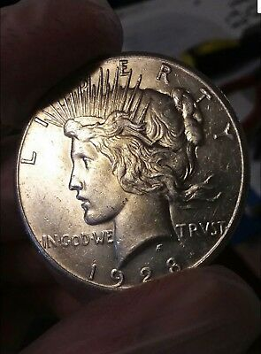 1928 P Peace Silver Dollar Coin High Grade, Rare Key Date *uncleaned* Vf/xf +