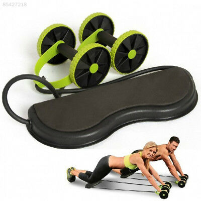 1794 Dual Wheels Roller Sports Stretch Elastic Abdominal Resistance Pull Rope To