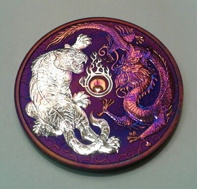 2018 - Australia  Dragon and Tiger 1oz Silver Coin with Beautiful  toning. Toned