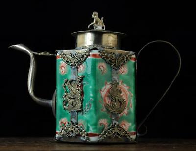 china Collection Copper Dragon&Monkey statue Inlaid green Porcelain Teapot b01