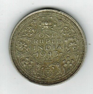 1943 British India One Rupee King George VI Silver Foreign Coin
