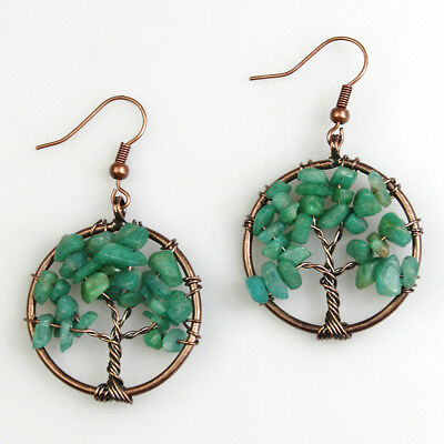 Natural Amazonite Chip Beads Tree of Life Chakra Healing Reiki Copper Earrings