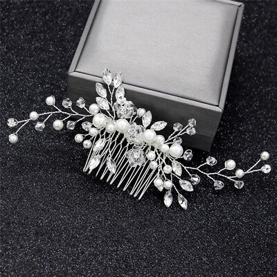 Crystal Pearls Women Hair Jewelry Wedding Hair Comb Bridal Headpieces FT