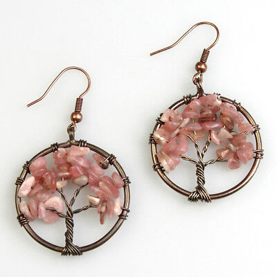 Natural Argentina Rhodochrosite Chips Beads Tree of Life Chakra Dangle Earrings