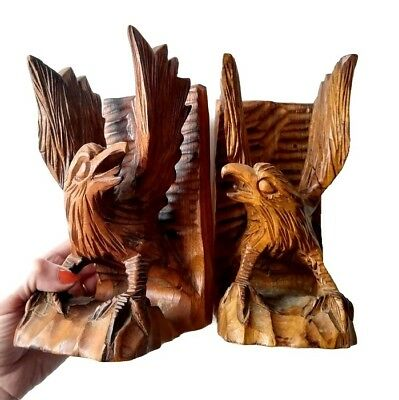 Pair of Vintage Folk Art Chainsaw Wooden Hand Carved Eagle Bookend Set American