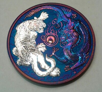 2018 Australia  Dragon and Tiger 1oz Silver Coin with Beautiful  toning.