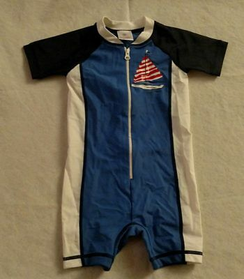 NWT Hanna Andersson Sailboat Swimmy Rash Guard Swimsuit 1PC 85 2T Toddler Boy