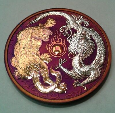 2018 Australia  Dragon Tiger 1oz. Silver Coin with Beautiful  toning. TONED .