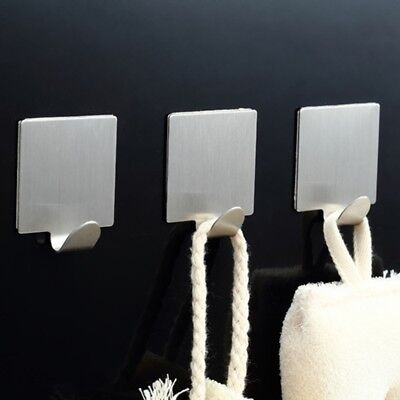 4x Stainless Steel Self Adhesive Hooks Strong Sticky Stick On Wall Door Hooks