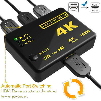 3In1 Out HDMI Splitter Switcher 3 Port for PC Hub Box Auto Switch 4k 2k 1080P HD