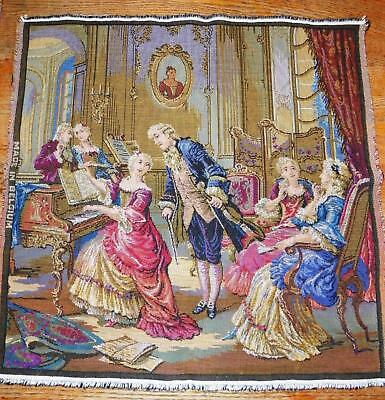 "Vtg Belgian Belgium Woven Tapestry 20""x20"" Neoclassical/romanticism Wall Hanging"