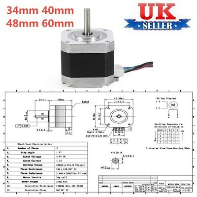 42step Stepper Motor Nema 17 4-wire 0.65N.m 1.5A 3.52V Bipolar For 3D Print UK