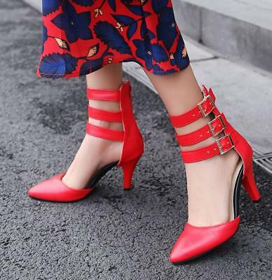 Womens Sexy Gladiator Buckle Strap Pointed Toe Med Heels Stilettos Shoes NEW H22