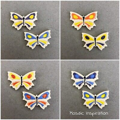 CERAMIC BUTTERFLIES x2 (20x30mm) Multicoloured ~ Mosaic Inserts, Art, Craft S...