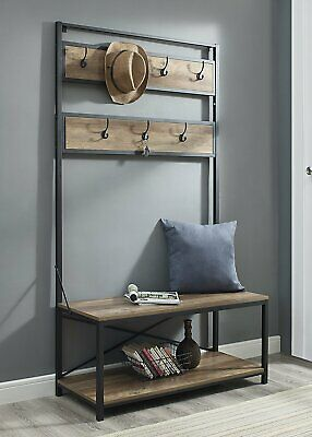 Rustic Oak Metal Wooden Hall Tree Coat Rack Hooks Storage Stand Entryway Bench