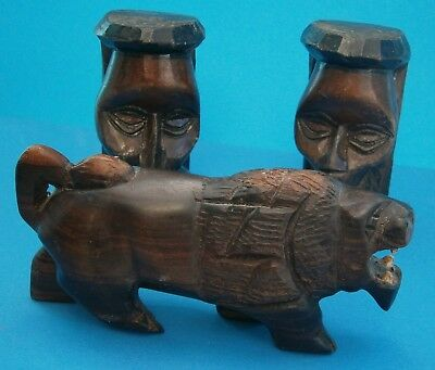 J99) Job lot Handmade Ethnic Treen Carved Wooden African mask figures Heads Lion