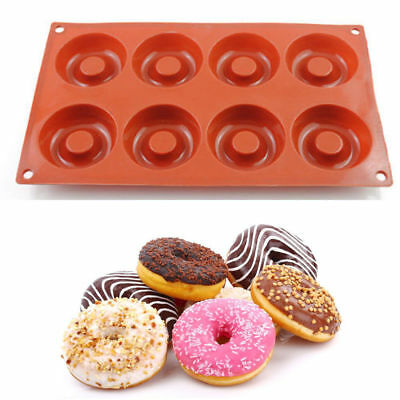 8 Cavity Silicone Donut Pan Doughnut Baking Mold Cake Cupcake Savarin Mould