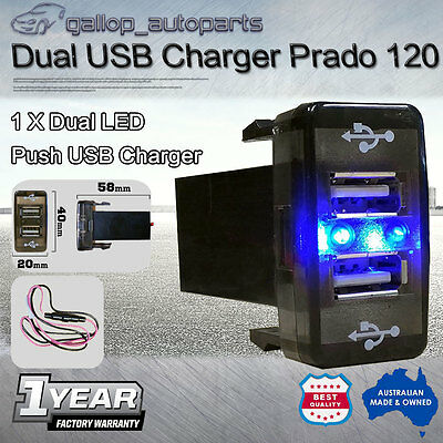 Dual USB Charger for Toyota Prado 120 Series Landcruiser 100 Series Blue Light