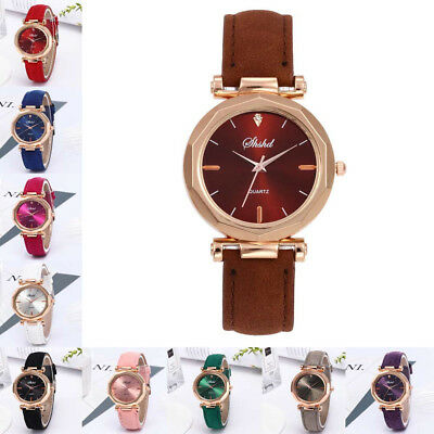 Fashion Women Leather Wristwatch Luxury Analog Quartz Crystal Wrist Watch UK