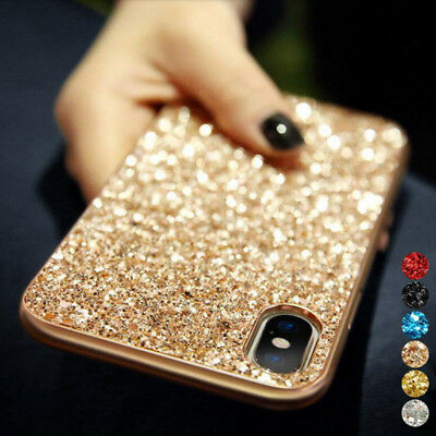 Bling Glitter Plating Hybrid Soft Leather Shockproof Skin Back Phone Case Cover