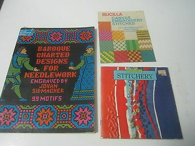 3 books Charted Designs for Needlework,Canvas Embroidery Stitches, Stitchery