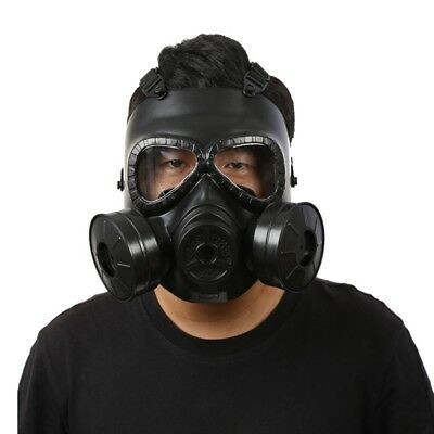 Breathable Gas Mask Double Filter Fan CS Survival Game Paintball Dust Face Guard