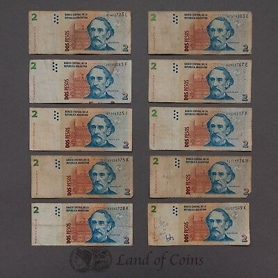 ARGENTINA: 20 x 2 Argentinian Peso Banknotes.