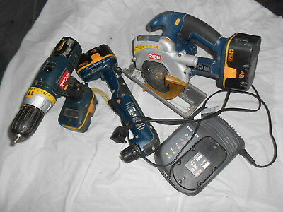 USED RYOBI ONE set Drill Saw Angle Drill charger 4 batteries.