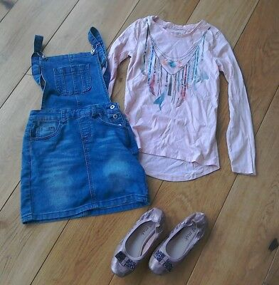 Girls Outfit Dungaree Denim Dress Mantaray Embellished Top And Next Pumps Age...